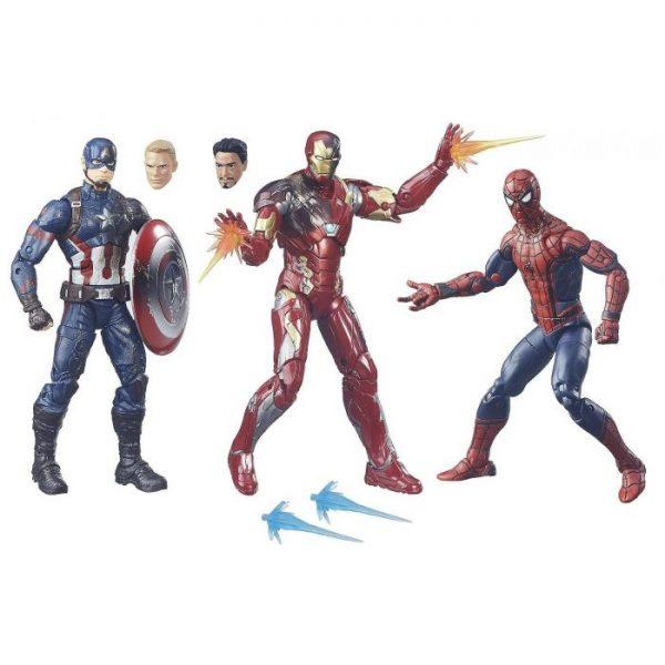 Captain America Civil War - Hasbro Action Figure: 6 Inch: Legends - Box Set: Captain America & Spider-Man & Iron Man Mark 46 3-Pack